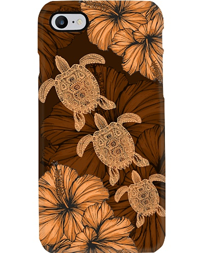 SHN 8 With brown orange hibiscus Turtle phone case