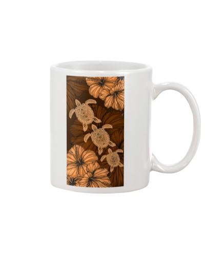 SHN 8 With brown orange hibiscus Turtle phone case