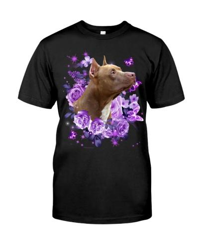 Pitbull purple flowers