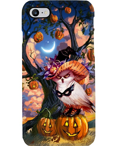 Owl under halloween tree phone case