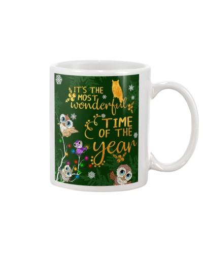 Owls chibi tree light mug