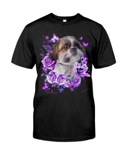 Shih tzu purple flowers