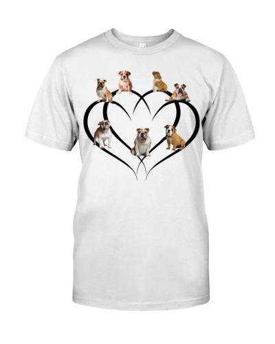 Bulldog couple heart shirt