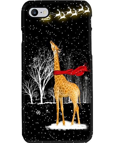 Giraffe look at the light sky phone case