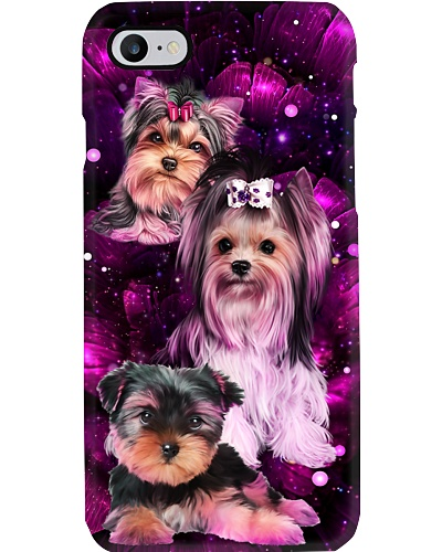 Magic galaxy rose Yorkshire Terrier phone case