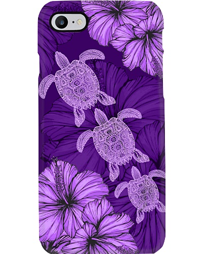 SHN 8 With purple hibiscus Turtle phone case