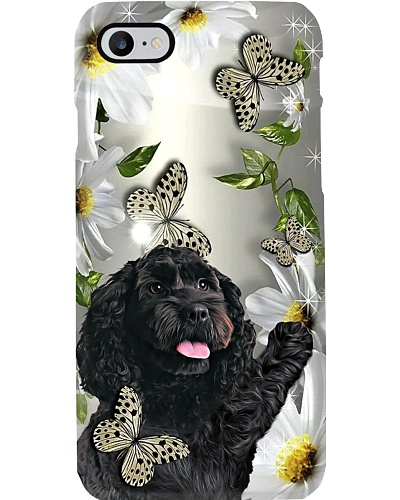 Ln Black cockerpoo daisy and butterfly