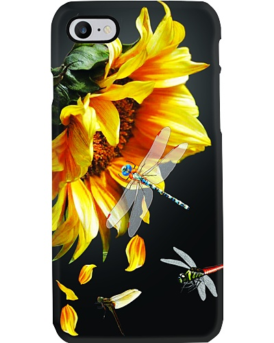 SHN Sunflower dark background Dragonfly phonecase