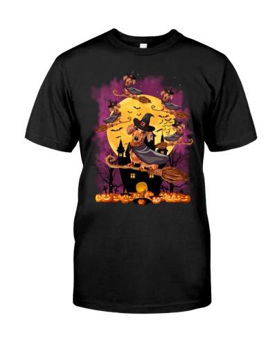 Dachsund witch in violet sky