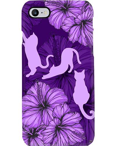 SHN 8 With purple hibiscus Cat phone case