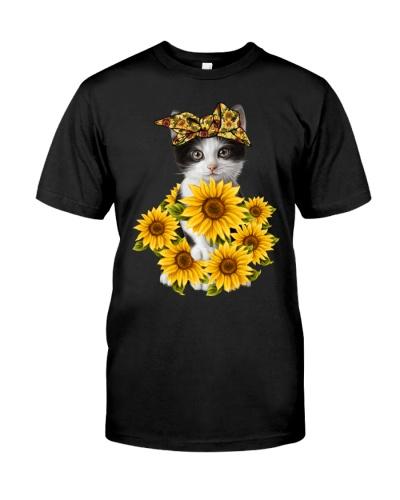 Cat full of sunflowers