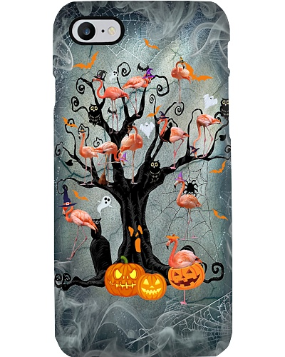Flamingo halloween tree phone case