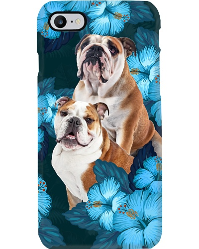 Bulldog blue hibiscus flowers phone case