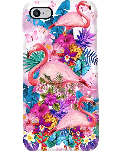 Flower Forest Pink Flamingo Phone Case