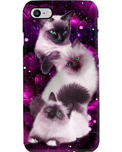 Magic galaxy rose Siamese Cat phone case