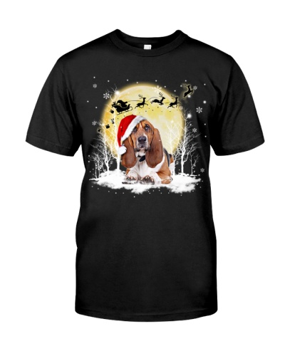 Basset hound under snow shirt