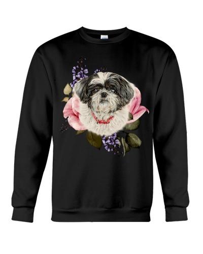Qhn 3 Flower Art Face Shih Tzu Sweat Shirt