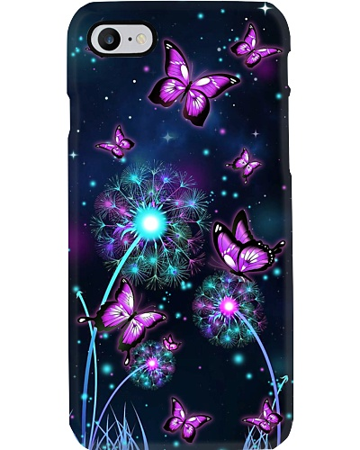 Butterfly light dandelion phone case
