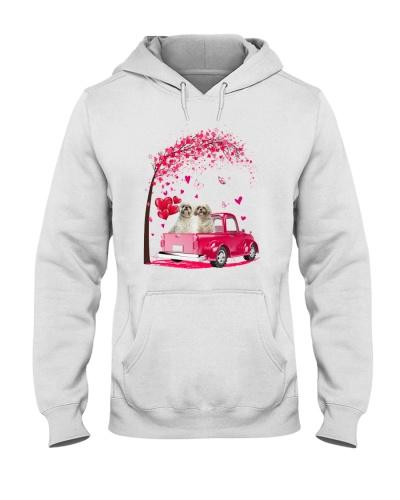 Shihtzu in love on a pink car