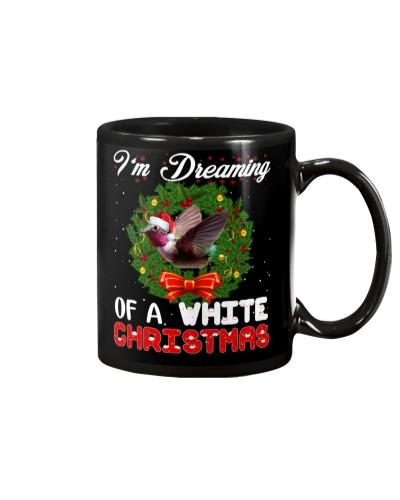 Humming bird white christmas world in mug