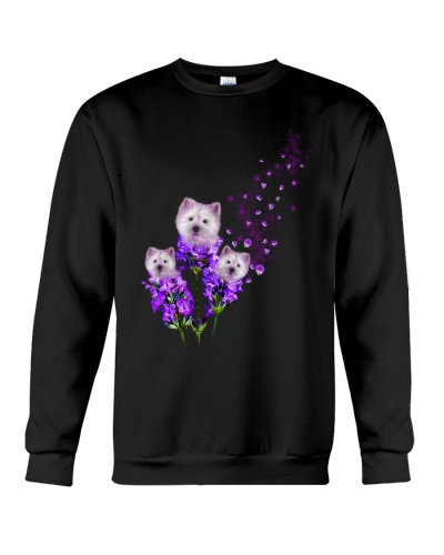 West highland white terrier purple tiny flowers