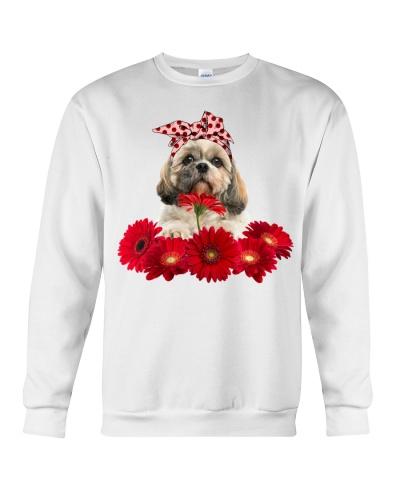 Red Flower With Shih Tzu Sweat Shirt