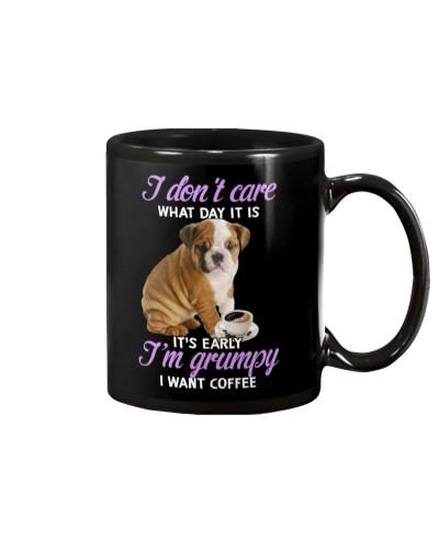 LT English bulldog is grumpy mug