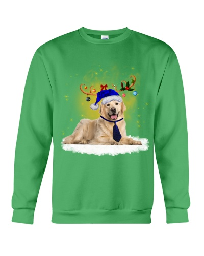 Golden retriever blue uniform funny in christmas