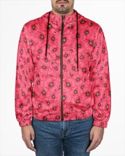 Red Poppies Daisies Men's All Over Print Full Zip Hoodie aos-complex-men-zip-hoodie-lifestyle-front-01