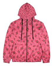 Red Poppies Daisies Men's All Over Print Full Zip Hoodie front