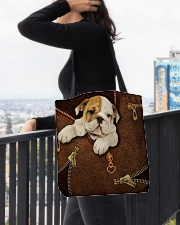 English Bulldog Like Leather  All-over Tote aos-all-over-tote-lifestyle-front-05