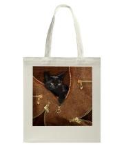 Black Cat Like Leather Tote Bag tile