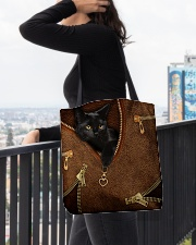 Black Cat Like Leather All-over Tote aos-all-over-tote-lifestyle-front-05