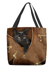 Black Cat Like Leather All-over Tote front