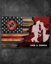 Custom Firefighter Couple Flag Personalized name 17x11 Poster aos-poster-landscape-17x11-lifestyle-12