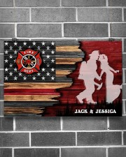 Custom Firefighter Couple Flag Personalized name 17x11 Poster aos-poster-landscape-17x11-lifestyle-18