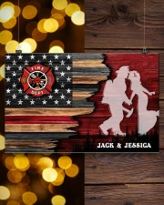 Custom Firefighter Couple Flag Personalized name 17x11 Poster aos-poster-landscape-17x11-lifestyle-29