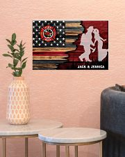 Custom Firefighter Couple Flag Personalized name 17x11 Poster poster-landscape-17x11-lifestyle-21