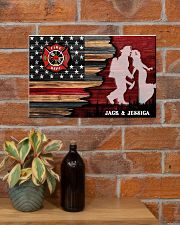 Custom Firefighter Couple Flag Personalized name 17x11 Poster poster-landscape-17x11-lifestyle-23