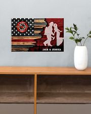 Custom Firefighter Couple Flag Personalized name 17x11 Poster poster-landscape-17x11-lifestyle-24