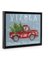 VIZSLA DOG RED TRUCK CHRISTMAS Floating Framed Canvas Prints Black tile