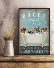 BOXER PUPPY SITTING ON A BATH SOAP 11x17 Poster lifestyle-poster-3