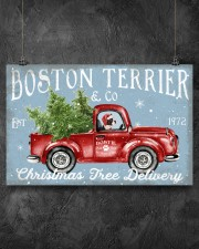 BOSTIE DOG RED TRUCK CHRISTMAS 17x11 Poster aos-poster-landscape-17x11-lifestyle-12