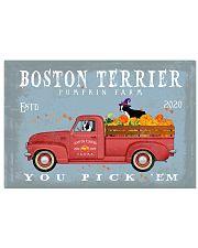 BOSTON TERRIER RED TRUCK PUMPKIN FARM 17x11 Poster front