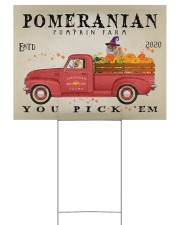 POMERANIAN DOG RED TRUCK PUMPKIN FARM Yard Signs tile
