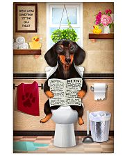 FUNNY DACHSHUND PUPPY SITTING ON A TOILET 11x17 Poster front