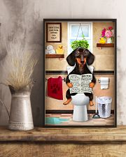 FUNNY DACHSHUND PUPPY SITTING ON A TOILET 11x17 Poster lifestyle-poster-3