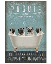 PUG PUPPY SITTING ON BATH SOAP 11x17 Poster front