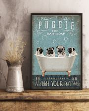 PUG PUPPY SITTING ON BATH SOAP 11x17 Poster lifestyle-poster-3
