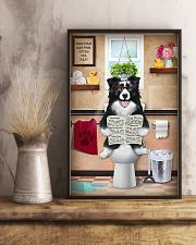 BORDER COLLIE PUPPY ON THE TOILET  11x17 Poster lifestyle-poster-3